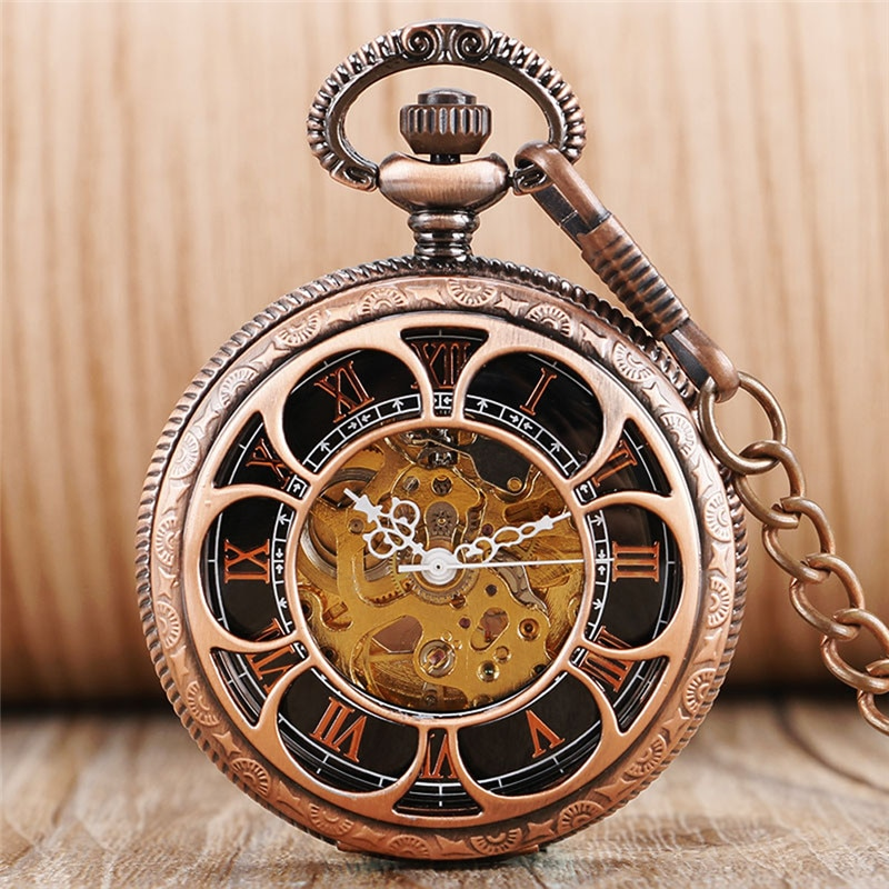 Red Copper Hollow Out Pumpkin Mens Womens Auto Mechanical Pocket Watches Roman Number Dial Pendant Chain Skeleton Clock Gift