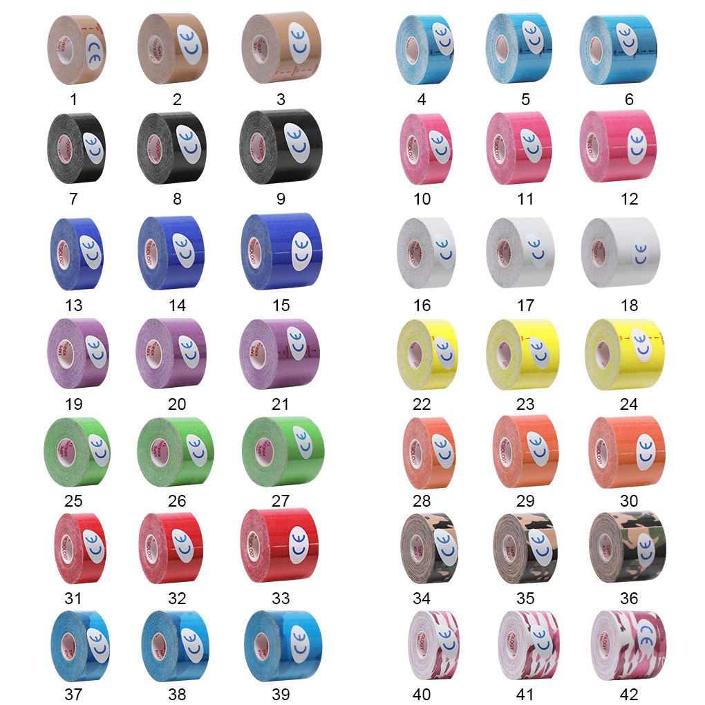 Kinesiology Tape Muscle Bandage Colorful Sports Cotton Elastic Adhesive Strain Injury High Speed Tap