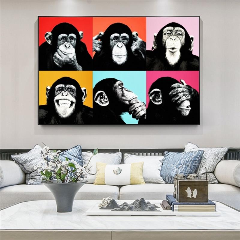 Pinturas sobre lienzo de mono divertido arte de Graffiti en la pared...
