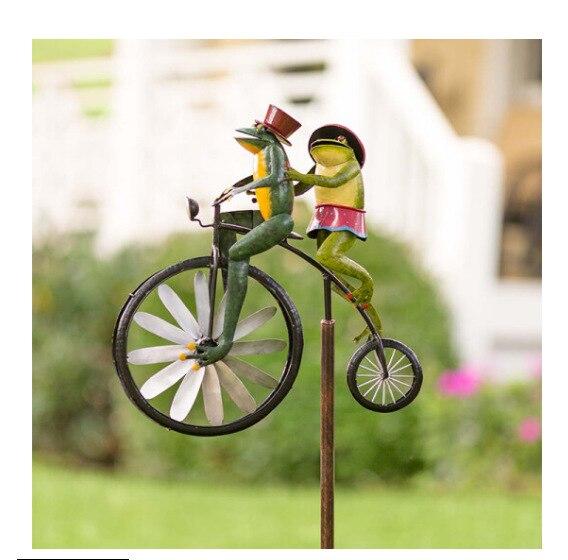 Vintage دراجة معدنية الرياح سبينر الحيوان الضفدع حلية دراجة نارية دراجة طاحونة ركوب الدراجة ساحة حديقة الديكور