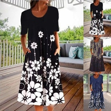 Neue frauen Frühling Sommer Casual Plus Größe Bequeme Lose Gedruckt Taschen Elegante Mode Vielseitig Kleid