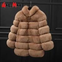 2021 winter plus size casual outerwear furry faux fur coat women high collar long sleeve fake fur jacket faux fox fur vest