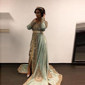 Robe Caftan marocaine à manches longues sur mesure avec Applique en or islamique dubaï saoudien arabe robes de soirée Abaya robe