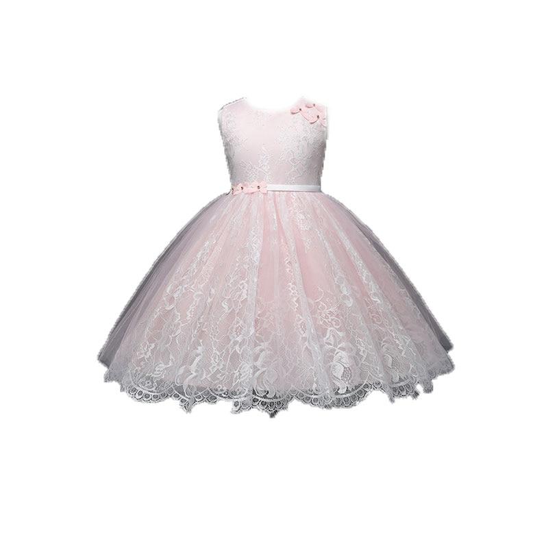 AmzBarley chica vestido de baile boda anillo portador encaje arco princesa vestidos cuello redondo sin mangas apliques