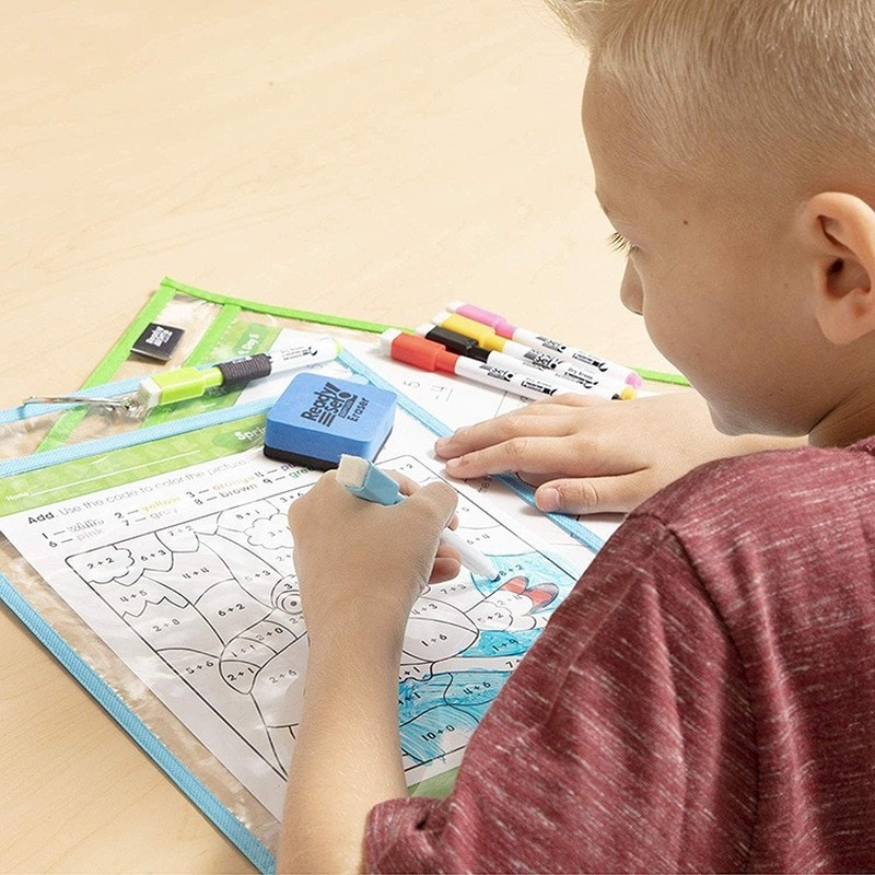 Kids Transparent Write+Wipe Pockets Reusable Dry Erase Pockets Sleeves Bag 6 Assorted Colors Dry Erase Pockets With Pen Holder