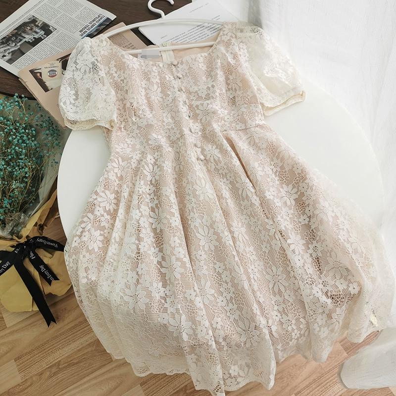 2020 Summer Casual Lace Patchwork Midi Dress Square Collar Short Puff Sleeve Korean Style Vestidos Beige Black White Dresses