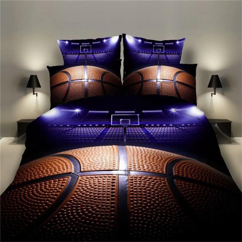 طقم أغطية سرير كرة سلة فاخرة ، مقاس كينغ ، سرير مزدوج ، كوين مفرد ، غطاء لحاف ناعم مع كيس وسادة