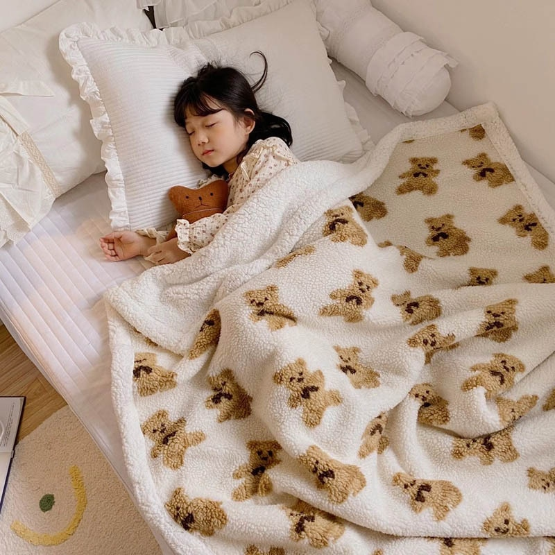 Bear Particles Lamb Wool AB Version Blanket Ins Nordic Wind Cute Cartoon Kindergarten Children Nap Double Warm Skin Winter