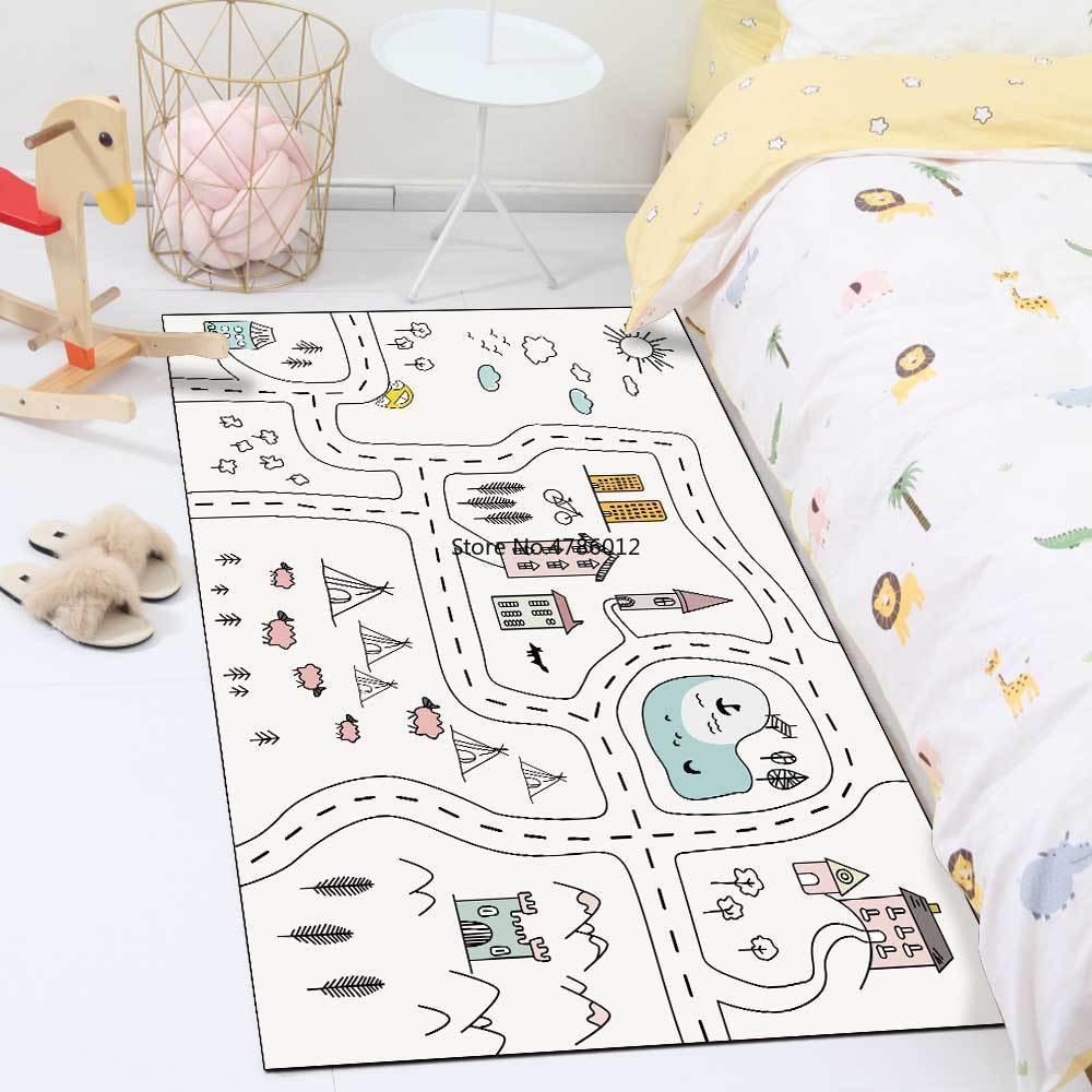 سجادة سرير كرتونية بسيطة وعصرية ، 200 × 300 سنتيمتر ، خط أبيض وأسود ، للمزرعة ، غرفة المعيشة ، غرفة النوم