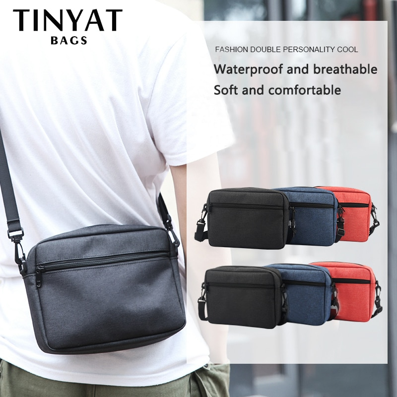 TINYTA حقيبة للرجال خفيفة حقيبة الكتف للرجال ل 9.7 'pad 9 جيب مقاوم للماء حقيبة الكتف عادية الأسود حقيبة أوراق قماشيّة T5001