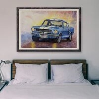 Peinture classique de voiture de course retro bleue T156  18 affiches personnalisees en soie  decoration murale  cadeau de noel