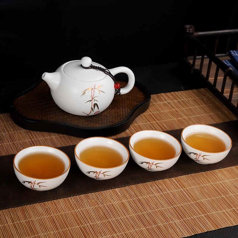 طقم شاي صيني في الهواء الطلق السفر الكونغ فو teبينة وعاء واحد أربعة أكواب إبريق شاي من السيراميك فنجان الشاي حفل الخدمات المحمولة الخزف