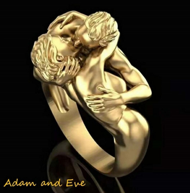 Mode Boho cuivre Style sculpté laiton chiffres Adam et Eve embrasser anneaux pour les femmes or Couple baiser amour Sculpture anneau