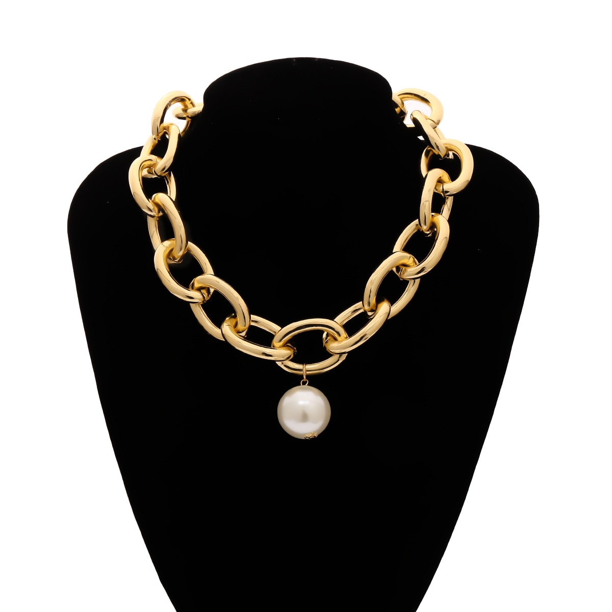 Купить с кэшбэком Gothic Big Imitation Pearl Pendant Choker Necklace Steampunk Men Hip Hop Heavy Metal Chunky Lock Chain Necklace Women Jewelry