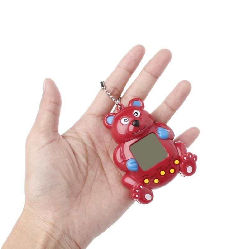 LCD Virtual Digital Pet Handheld Electronic Game Machine With Keychain Bear Shape B85B
