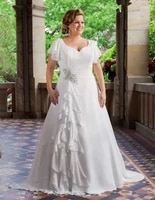 2021 new plus size wedding dresses short sleeve v neck beaded ruffles chiffon a line bridal gowns lace up back robe de mariee