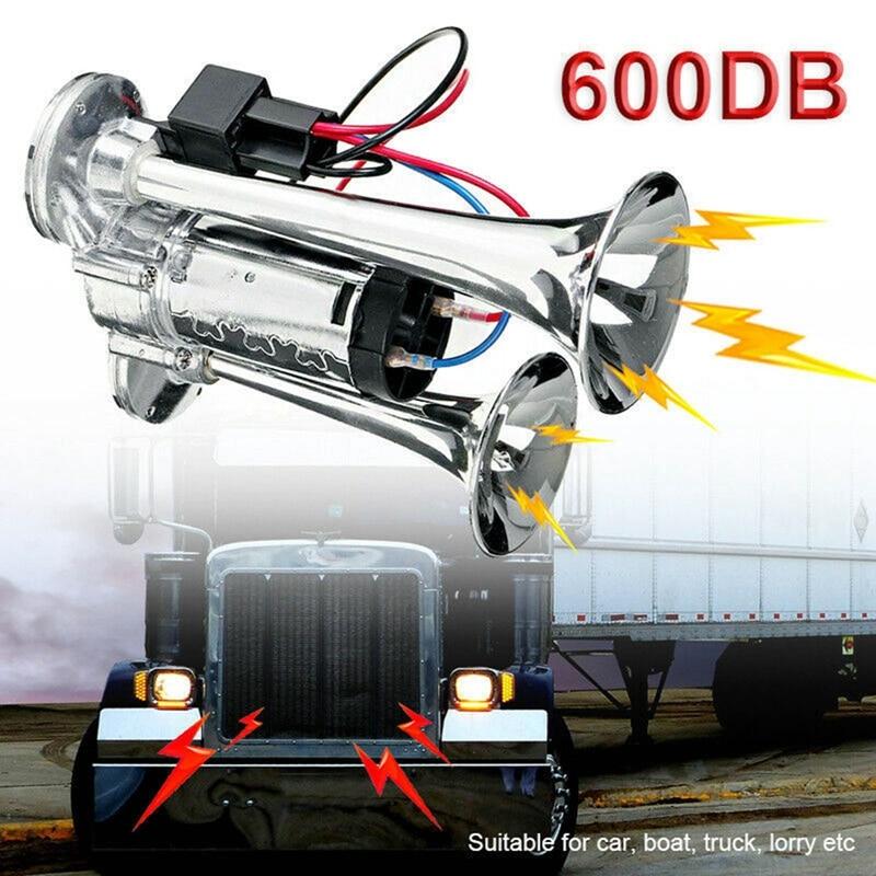 600DB 12V المزدوج الأبواق الصاخبة عظمى الكهربائية الملف اللولبي صمام سيارة الكهربائية الهواء القرن المتكلم للمركبة سيارة SUV شاحنة لوري RV قارب