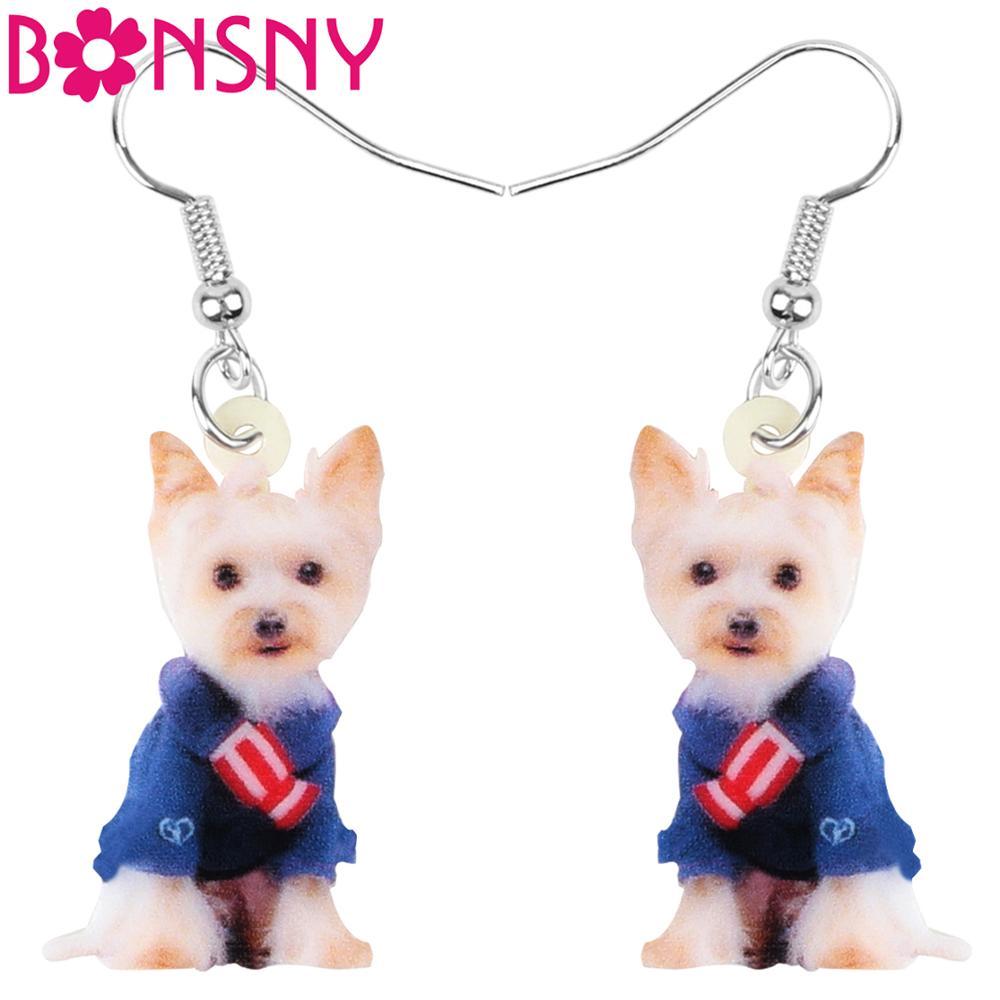 Bonsny traje de acrílico perro Yorkshire pendientes gota colgante Animal joyería para mujer chica adolescente niño encanto regalo accesorio de decoración