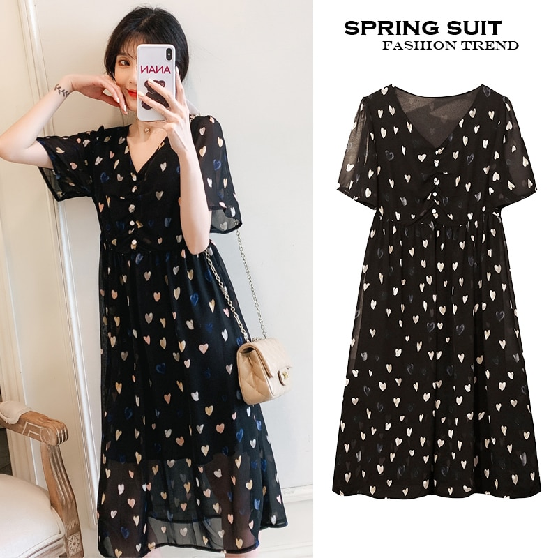 6603# 2021 Summer France Style Elegant Dot printed Chiffon Maternity Dress A Line Slim Clothes for Pregnant Women Thin Pregnancy