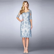Silver Mother Of The Bride Dresses Sheath Half Sleeves Knee Length Appliques Plus Size Short Groom M