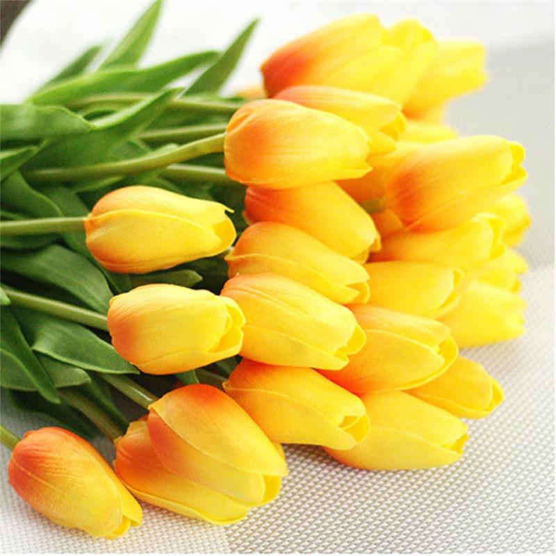 Tulipanes Artificiales Flores falsas PU cuero Mini tulipanes Flores Artificiales Ramos para fiesta hogar boda decoración barato