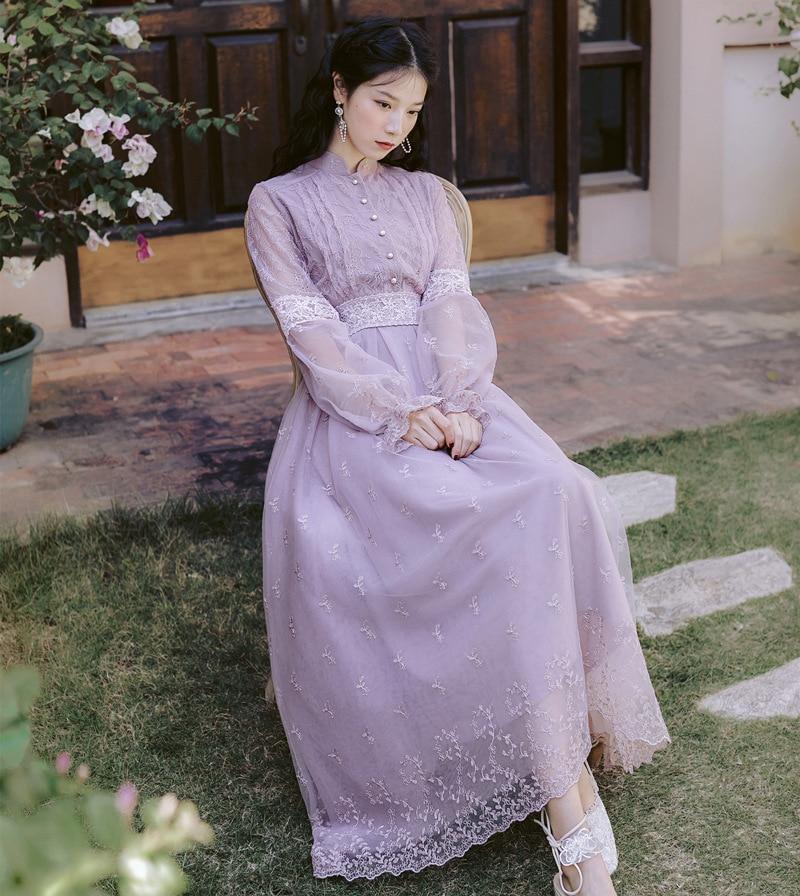 WAVSIYIER boho dress women woman vintage elegant puff sleeve single-breasted lace mesh 2020 spring autumn retro dress vestidos