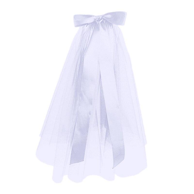 Фата свадебная двухслойная, белая и черная, недорогие аксессуары для невесты, короткая женская вуаль с расческой, 80 см