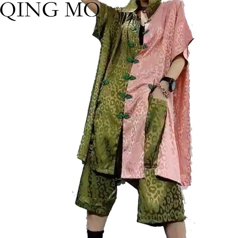 تشينغ مو الأسود الأخضر النساء خمر قصيرة مجموعة 2021 الصيف النساء خليط اللون T قميص + منتصف العجل طول السراويل ZQY4354