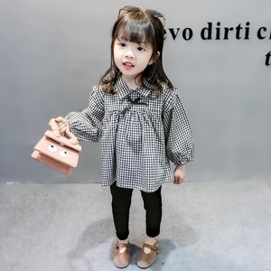 Children 2Pcs Long Sleeve Plaid Top+Trousers Set Spring Autumn Girl Baby Girl Clothes Sets Korean Version Style Clothing Suit