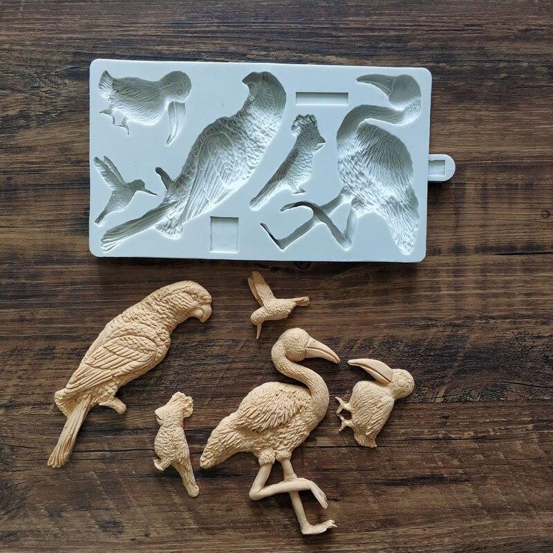 Moldes de silicona para concreto, flamenco, pájaro, loro, colibrí, planta de diseño Hawaiano, molde para tartas de yeso, Fondant