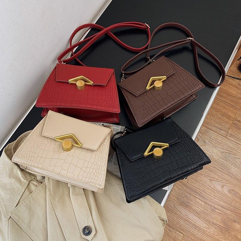 PU Leather Fashion Women Bags 2021 Summer New Crocodile Pattern Handbag Shoulder Messenger Chain Lock Small Square Bag summer new yunnan ethnic style pu leather women s handbag geometric pattern casual hand bag