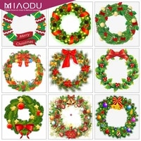 dbqp 5d diamond painting christmas wreath full drill square diamond embroidery landscape needlework decor for home