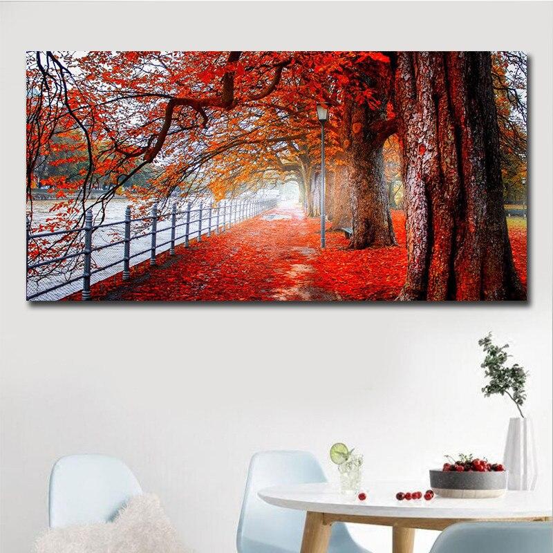 Árvore vermelha paisagem pintura da lona outono maple folhas arte da parede posters e cópias fotos de parede para sala estar decoração