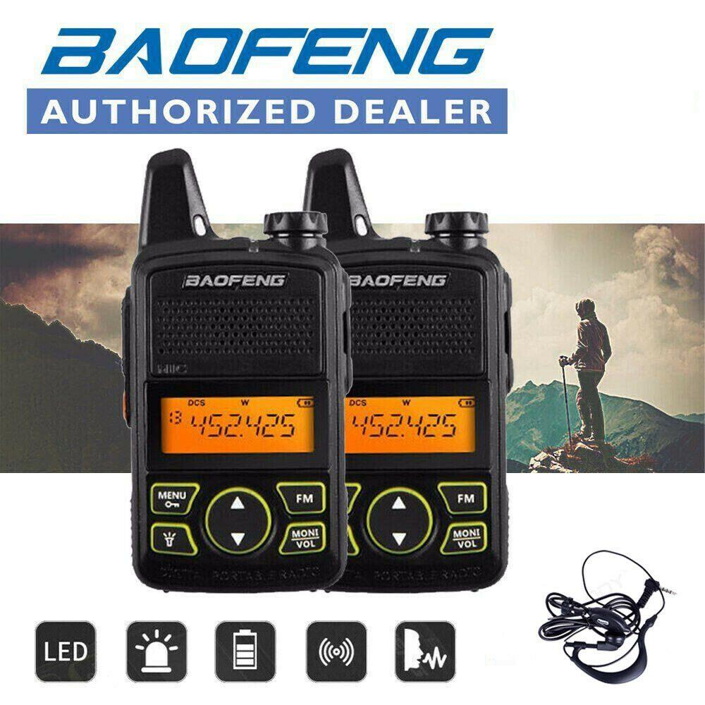 2x Baofeng BF-T1 Mini enfants talkie-walkie UHF Portable Radio bidirectionnelle FM fonction jambon Radio Baofeng T1 USB enfant HF émetteur-récepteur