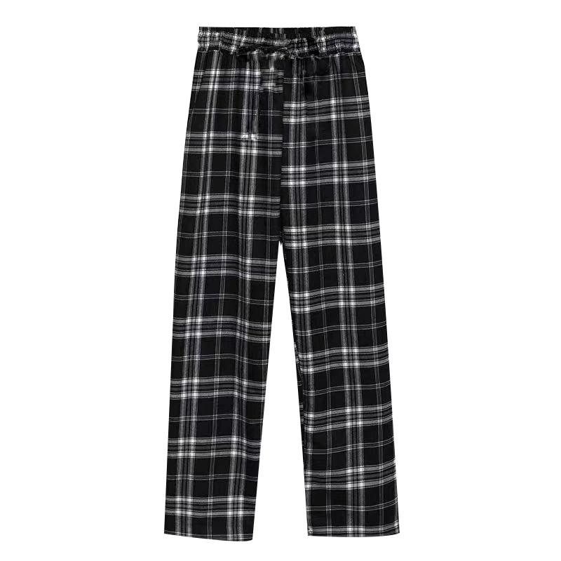 Summer Unisex Plaid Pajama Pants Cotton Sleep & Lounge Pants Male Pajama Sleep Pants Men Sleepwear W