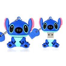 Orijinal karikatür Lilo ve Stitch USB flash sürücü 8GB 16GB 32GB U disk sevimli başparmak bellek sopa USB 2.0 64GB 128GB kalem sürücü usb flash