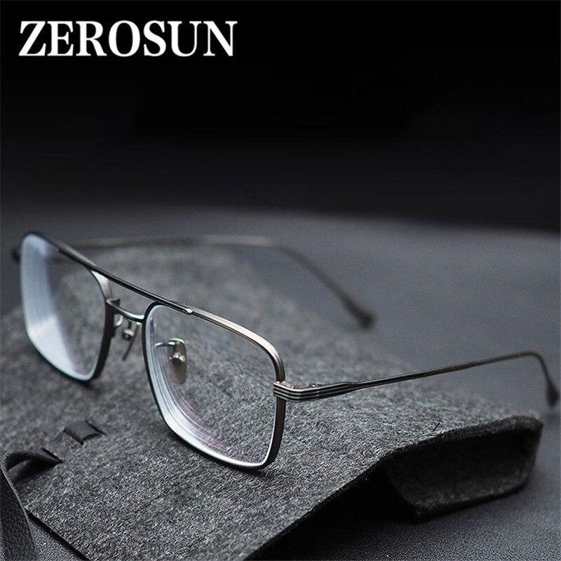 Gafas de titanio Evove para hombre, gafas cuadradas para hombre, gafas gruesas para hombre, miopía/dioptría, Anti fotocrómico progresivo azul