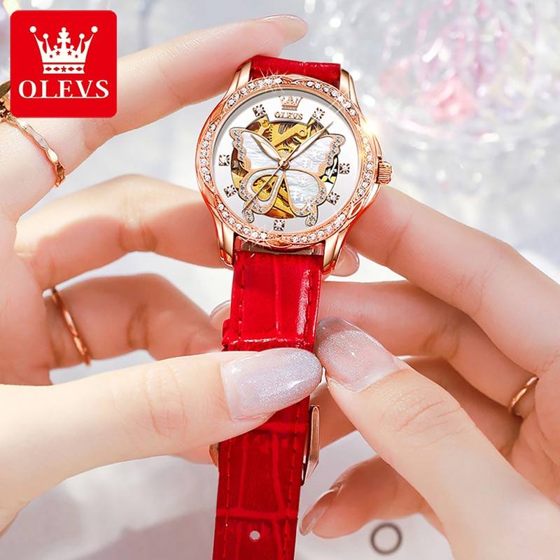 OLEVS Gold Hollow Butterfly Flower Automatic Mechanical Watch Ladies Fashion Red Leather Strap Luminous Waterproof Watches Women enlarge