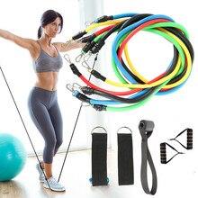11 шт., фитнес-Тяговая веревка, Резистентные ленты, латексная сила, тренажеры для тренажерного зала, домашние эластичные упражнения, оборудование для фитнеса и тренировок
