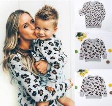 Famille correspondant vêtements mère fille léopard à manches longues sweat hauts mode pull tenue