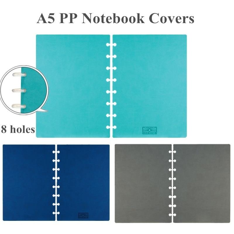 A5 cuaderno cubre con 8 agujeros De Seta para DIY diario planificador hoja suelta cuaderno cubiertas Discbound accesorios A2002-1