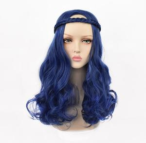 Anime Women Party Wigs Descendants 2 Evie Blue Long Wavy Curly Wig With Braid Cosplay Costume Heat Resistant Synthetic Hair