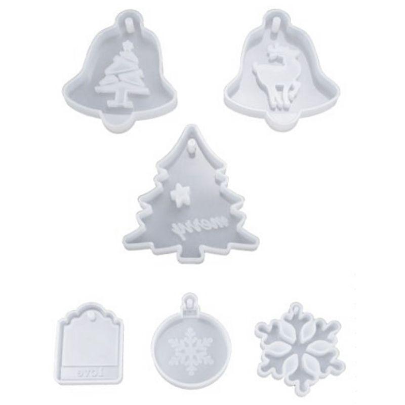 6Pcs/Set Resin Crystal Epoxy Mold Christmas Tree Elk Pendant Casting Silicone Mould DIY Crafts Decoration Making Tools
