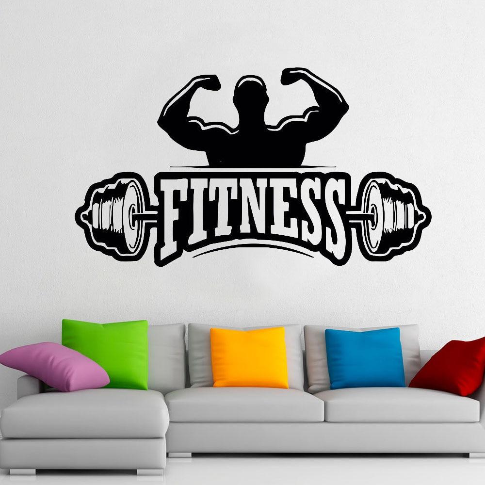 Fitness Center Logo pegatina deportiva para pared barra entrenamiento levantamiento de pesas gimnasio decoración Interior puerta ventana vinilo pegatinas E162