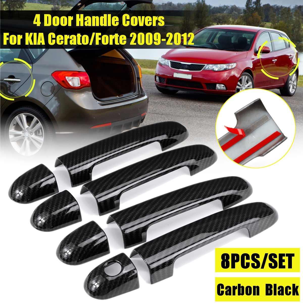 Carbon Black/  Chrome Car Door Handle Covers Trim Sticker Auto Exterior Parts For Kia Cerato Forte 2009 2010 2011 2012