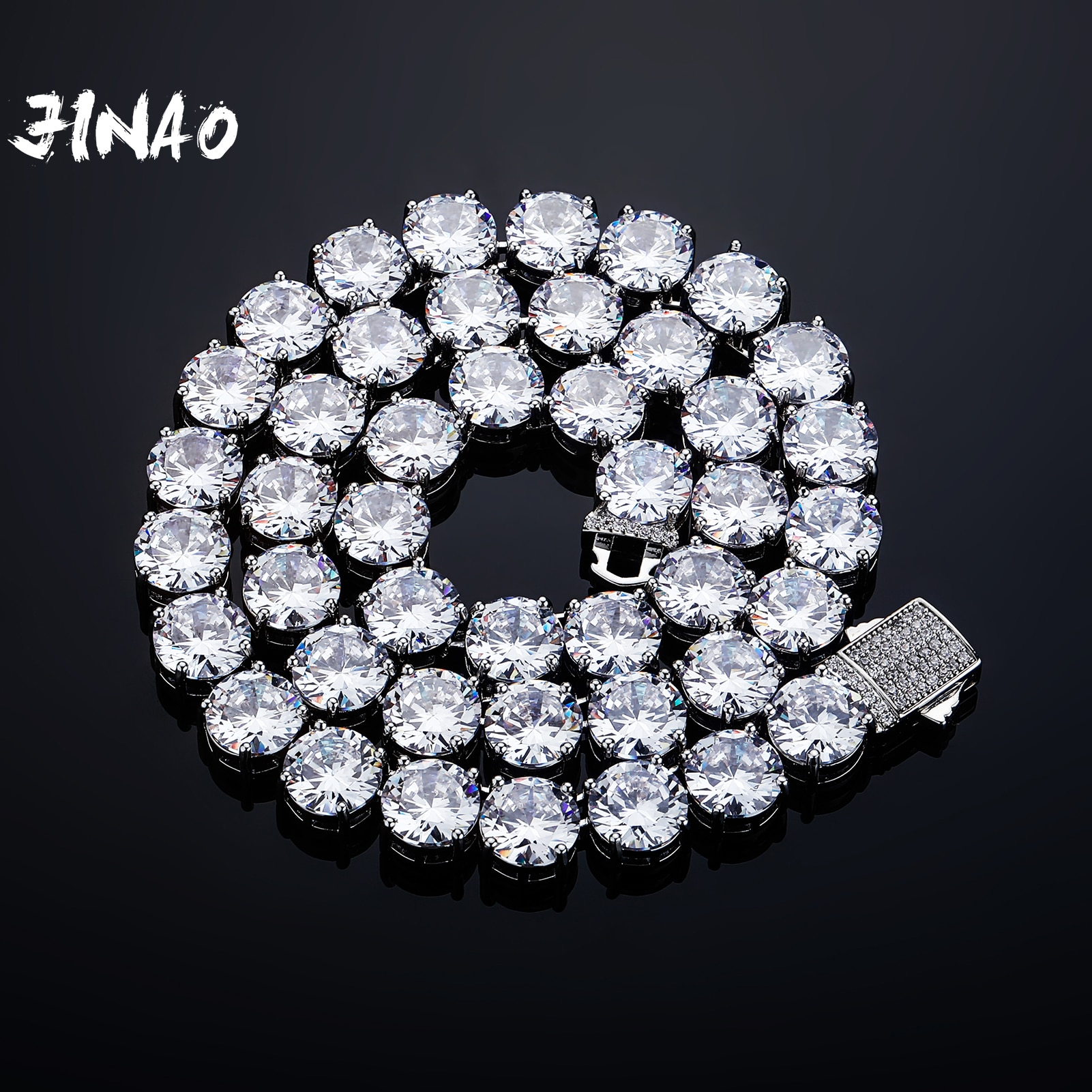 JINAO 2021 جديد 10 مللي متر الربيع مشبك تنس سلسلة عالية الجودة شخصية مثلج خارج AAA + قلادة تشيكوسلوفاكيا مجوهرات للهدايا