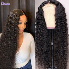 DOMINO 13X4 Lace Frontal Wig Deep Wave Lace Front Human Hair Wigs For Women Peruvian kinky Curly Lac