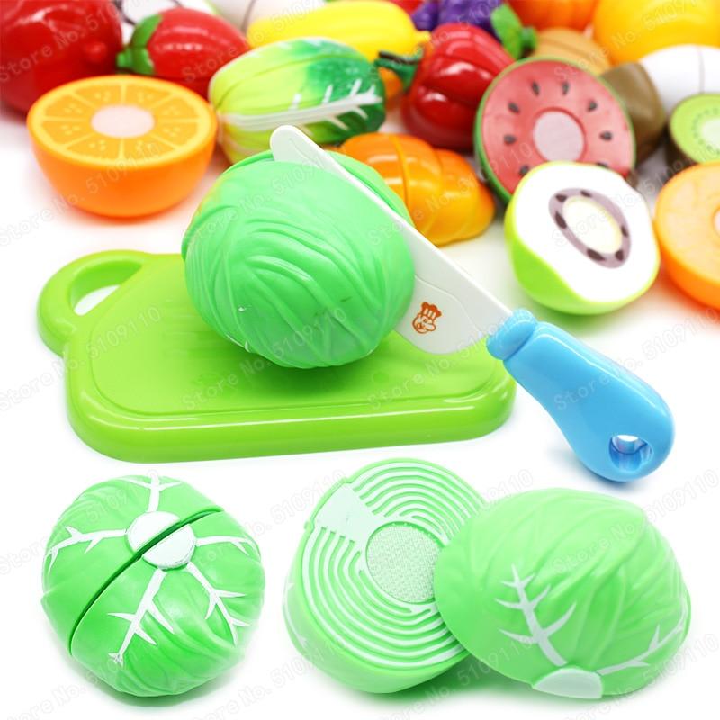 Mini verduras de espinaca corte de seguridad Diy regalos de Navidad para niños juguetes educativos modelo juego de personaje juego de la cocina del juego de la niña