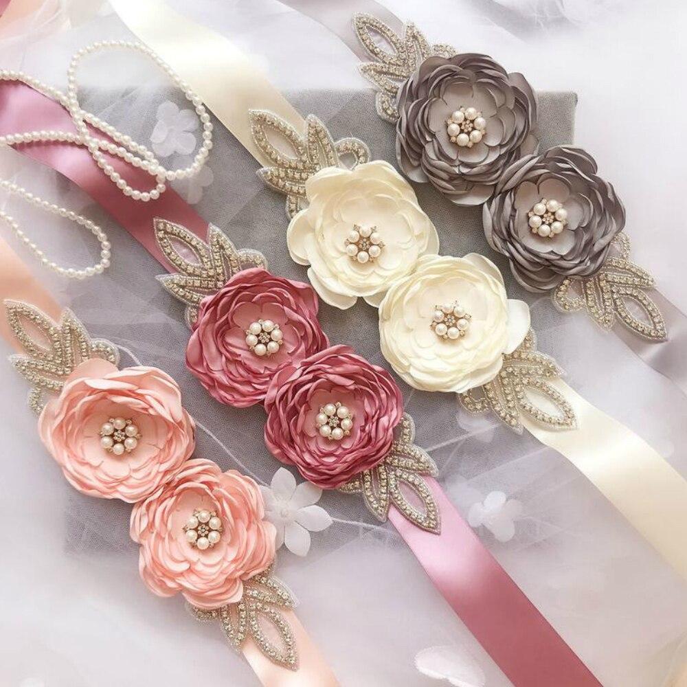 Hecho a mano Flor de diamantes de imitación cinturón de novia, vestido de novia de diamantes de cristal con marco de boda para accesorios de vestido de novia