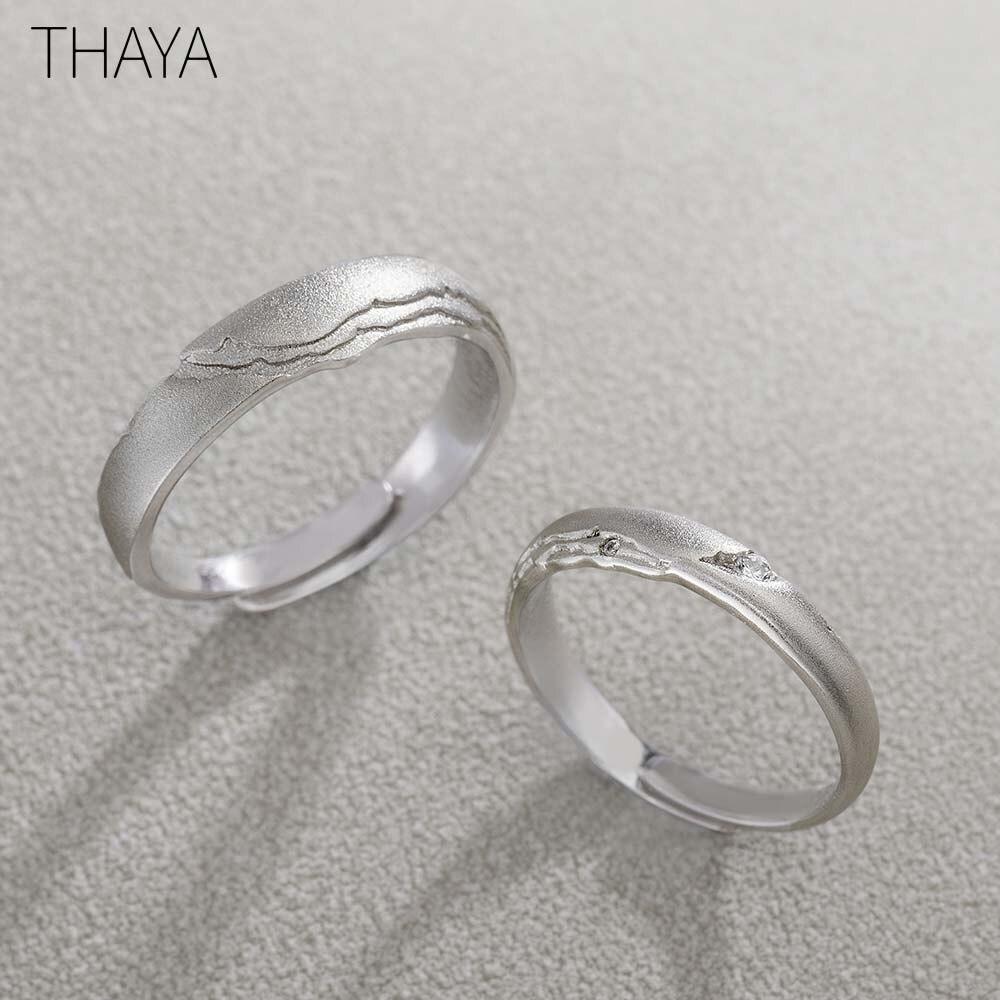 Thaya Seeking Rings S925 anillo de plata con diseño de circonita Circular para mujer elegante regalo Simple